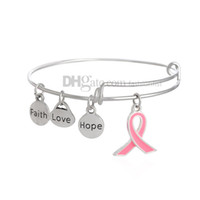 Cheap Charm Alex And Ani Bracelet Breast Cancer Awareness Bangle Faith Hope Love Charm Bracelet Wish Jewelry