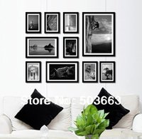 Cheap 2013 Picture Frame Wall 10 Pcs Classic Wood Creative Combination Photo Frame Art Home Decor Set L-A6