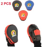 Wholesale 2 Muay Thai Karate Boxeo Boxing Pad MMA Gloves Leather Punch Mitts Taekwondo Sanda Focus Mitts Pads Guantes De Boxeo