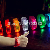Wholesale Voice Control Sound Activated Sensor LED Flashing Bracelet Glowing Shining Bracelets Bangle WristBand Wrist Strap