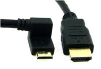 Wholesale 90 Degree Gold Plated Plug Mini HDMI Left Angle Male to HDMI Male HD Video Cable Cord P For Tablet Camera DV