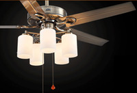 Wholesale Inch ceiling fan light with W LED lamp modern and fashion drawstring control and wall control switch