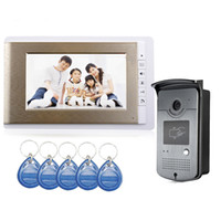 Wholesale 7 inch LCD Wired Home Color Video Door Phone System ID RFID Keyfobs IR Outdoor Camera