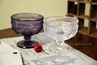 amber salad bowl - fashion amber glass embossed ice cream tall foot glass bowl restoring ancient ways High dessert cup A salad bowl
