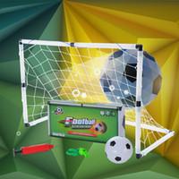 mini football - Mini portable folding Childs Goal Football Soccer door Post Net Ball Pump Set Kids Indoor Outdooor Sports Toy