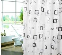 Wholesale 2014 NEW Modern Waterproof PEVA Bathroom Shower Curtain Thickened Grid Metal Buckle cmx180cm ETH035