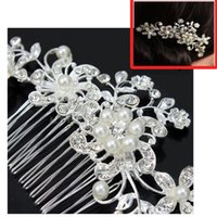 Wholesale S Bridal Wedding Flower Crystal Rhinestones Pearls Women Hair Clip Comb Diamante