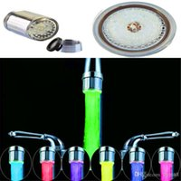 Wholesale 7 Colors Change LED Water Shower Head Light RGB Temperature Controlled Glow LED Faucet With Adapter For Most Faucet Kitchen Bathroom Tap A5
