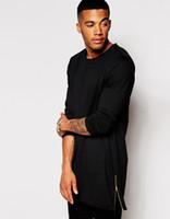 extra long t shirt - 2015 new arrival longline long sleeve t shirt extra length t shirt solid tall tee men white t shirt with zipper to the hem XXXL