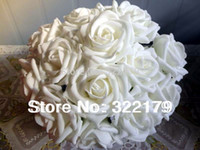 Wholesale 100X Fake Flowers White Foam Roses Bridal Bouquet Artificial Wedding Christams Decor Centerpiece Flowers