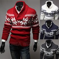 Wholesale New mens sweaters fashion christmas snow printed sweater casual pullover sweater for men M XXL
