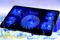 Wholesale Computer Cooling Fan Blue - 5 Fans 2USB Notebook Laptop Computer Cooler,Cooling Rack,Fan Base Plate, Strengthen Edition black blue for 14,15.6 ,17 inches T0011-1