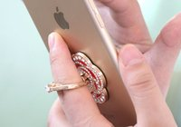 Wholesale Colorful Degree Rotating Diamond Rose Ring Finger Stand Holder for iPhone Samsung All smart Mobile Phones