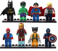 Wholesale 8Pcs Set Super Heroes The Avengers Iron Man Hulk Batman Wolverine Thor Building Blocks Sets Minifigure DIY Bricks Toys without package box