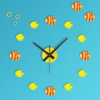 Wholesale Marine wind diy three dimensional combination clock fun table tropical fish wall clock wall clock
