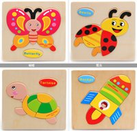 Wholesale Wooden Animals Kid toys for Children Baby a Educational kids toy Puzzle Cartoon