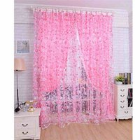 arrival valances - New Arrival Floral Pattern Voile Curtain Tulle Door Window Curtain Sheer Voile Curtain Drape Valance Romantic House Decoration