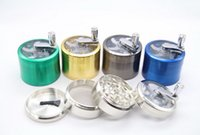 alloy handles - Zinc Alloy sawtooth grinder with handle rolling pollen hand cranking mm Tobacco Grinder Smoke Grinders laye smoking