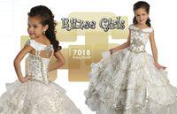 Wholesale Ritzee Girls Ivory Gold Little Girls Pageant Dresses Portrait Sequins Flower Girls Dresses Ball Gown First Communion Birthiday Dresses