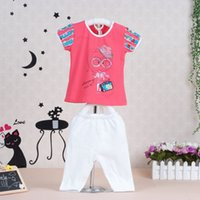 baby q shirt - Little Q cotton summer children outfits sets thin kids clothing baby two clothes girl t shirt pant kids clothing