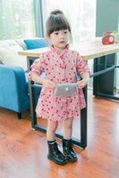 autumn flowering cherry - 2015 Autumn New Arrival Children Leisure Dress Cherry Flower Printed Dress With Stand Collar Korean Style Kids Princess Dress Fit2 Age T993