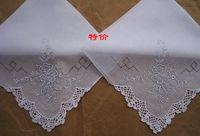 Wholesale Women s handmade embroidery handkerchief pure white cotton Shantou