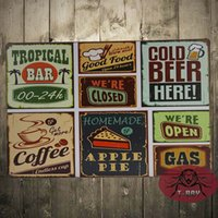 antique aluminum trays - Home Decoration Metal Craft Classic Beer Tin Sign iron Tray Bar Decor Wall Metal poster