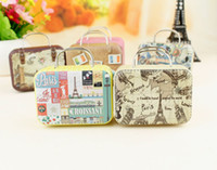 Cheap 20pcs Retro Suitcase Candy Box Sweet Love Wedding Party Gift Jewelry Tin plate Boxes Mix 6 Style New