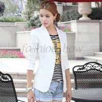 Wholesale 2014 New Fashion Women Slim Blazer Coat Casual Jackets Long Sleeve V Neck Black White One Button Suit Outerwear B11 SV004771