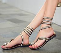 snake print shoes - Fashion women Snake Flip Flops Gladiator Sandals teen girl Rhinestones winding vervel Flat Sandals summer shoes gold silver drop shipping