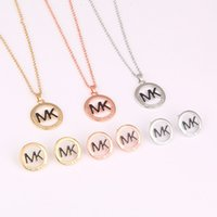 Wholesale Fashion Crystal Diamond Round Cool K Pendant Necklace Earrings Charm Michelled Jewelry Sets For Women Accessories