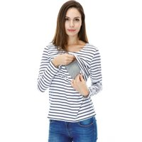 Wholesale Women s Casual Long Sleeves Striped Scoop Neck Cotton Maternity Nursing Breastfeeding Tops Tees