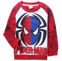 Wholesale 2016 Autumn and winter thicken Long Sleeve coat clothing children top cartoon spider man baby hoodies upper garment T ESY120