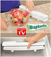 Wholesale Hot Wraptastic Food Wrap Dispenser Aluminum Foil Wax Paper Cutter Slip resistant wraptastic wrap cutter cling film box V20047