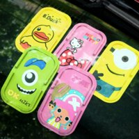 Wholesale 1piece Cute cartoon silicone mobile phone stents sundry box car mat car styling parking accessories tools Universal Storage mat