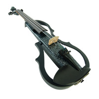 Wholesale Kinglos Ebony Fitted Solid Wood Colored Band EQ Electric Violin with Case Bow Rosin m Cable Earphone V Battery SDDS1306