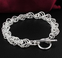 big wholesale - silver chain bracelets sterling silver plated big round chain bracelets jewelry girl and boy gift YDH