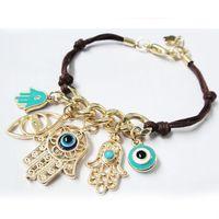 Wholesale 2015 Fashion Elegant Luxury Rhinestone Blue Eye Plated Sliver Gold Chain Link Bracelet Charm Jewelry For Women EH158
