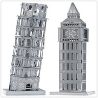Wholesale DIY Metal Works Model Kits d Laser Cut Jigsaw Puzzle Toy Landmark Building Italy Pisa leaning Power and London Big Ben