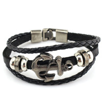 Wholesale Vintage Men s Handmade Retro Leather Bracelet Navy Wind Hand woven Anchor Leather Alloy Woven Bracelets Colors