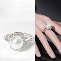 Cheap ROM High Quality Elegant Pearls Ring Rigant CZ Zircon 18K gold Plated Pearl Rings for Women Enviromental Anti Allergies Big Size