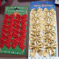 Wholesale 2015 Red Gold Christmas Bowknot Christmas Tree Holiday Decoration yylHB057