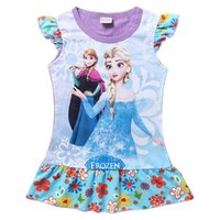 Cheap 2 Colour Frozen Elsa Anna Dress 2015 new Princess Girls Cartoon Short sleeve pajamas dress baby clothes 2-8Y C001