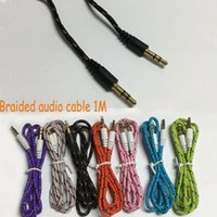 Wholesale 120pcs M FT mm Weave Audio Cable Cord Car Aux Extension Replacement Male to Male Adapter for mp3 Speaker Car iPhone Colorful
