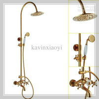 Wholesale FEDEX k gold clour Rainfall shower and tub faucet rainfall shower Crystal faucet waterfall glass wall faucet handle mixer