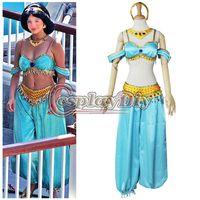 adult jasmine costume - Custom Made Adult Women Aladdin Jasmine Dress Costume Sexy Fantasy Carnival Halloween Movie Cosplay Costume
