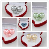 Wholesale Mix Colors Candy Colors Pearl Ball Stud Earrings Nice Double Balls Earrings For Women