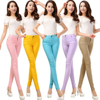 Wholesale 2016 Spring and Summer Women s Slim Pencil Pants Candy Colors slacks girl s Stretch Trousers Elastic big Size thin Leisure pants