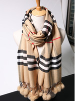 Wholesale 2015 new winter scarf Europe and the United States big rabbit fur fashion star of England grid tassel scarf