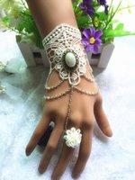 alloy bracele - 2016 Elegant wedding Bridal Handmade Lace Bracelet Party Prom Jewelry with Ring Wristband Bracele Bridal Jewelry